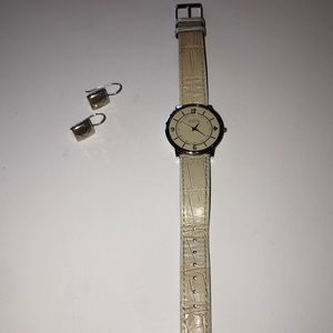 Silpada sterling silver earrings and watch